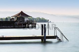 Badehaus am Bodensee, Wasserburg, Bayern, Deutschland