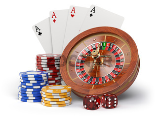 Casino o gambling concept. Roulette, casino chips, cards and dice isolated on white background