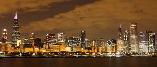 Chicago at night - Panoramic view