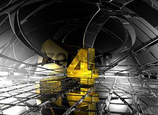 nummer vier in futuristischer umgebung - 3d illustration