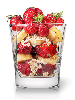 Strawberry and banana in glass