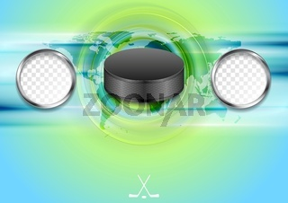 Bright abstract hockey background with black puck