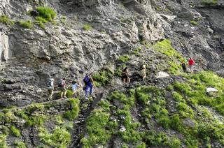Wanderer auf dem Gemmi-Weg, Wallis