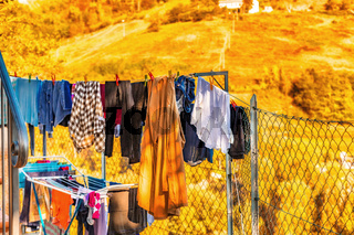 clothes hung out to dry