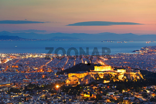Athens after sunset, Greece