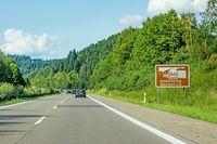 Oberndorf am Neckar, abbey sign, Autobahn, Germany