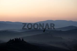 Morgenstimmung, San Quirico, Toskana, Italien