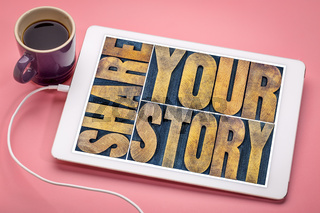 share your story word abstract on tablet