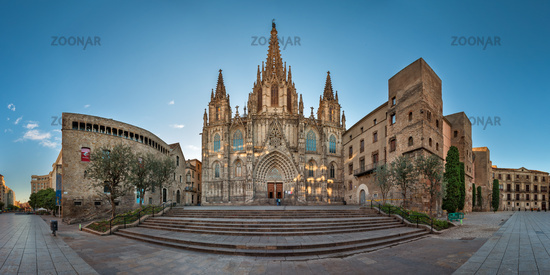 Panorama of Cathedral of the Holy Cross and Saint Eulalia in the Morning, Barcelona, Catalonia