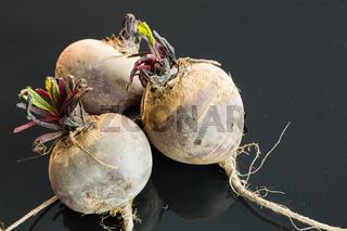 Three farm fresh raw beetroot