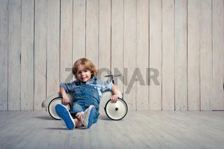 Little boy with car