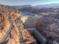 Aerial view of Hoover Dam, Nevada, USA