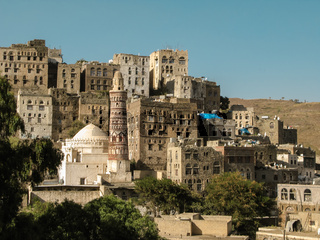 View to Jibla old city and former synagogue Yemen