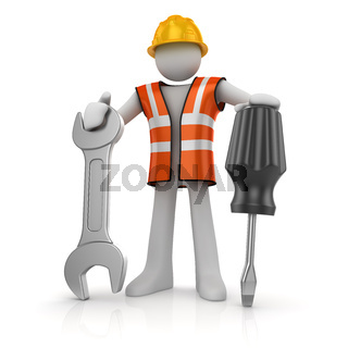 3d man with a screwdriver and a wrench