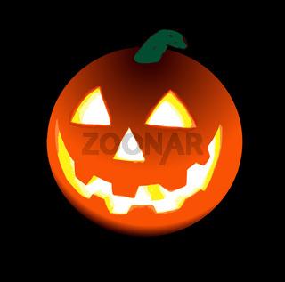 Halloween's orange pumpkin over black