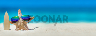 Starfish with surfboard on beach