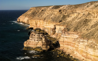 View of scenic coastline with Island Rock in Kalbarri National Park, Western Australia