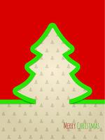 Christmas greeting card with green ribbon tree