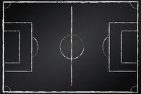 Fußballfeld auf Tafel schwarz