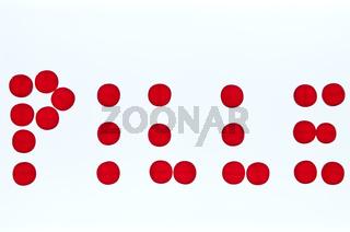 das Wort 'Pille' aus einzelnen Tabletten zusammengesetzt