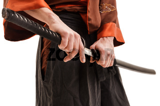 Chinese sword in scabbard close up shot in studio