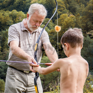 Outdoor archery lesson