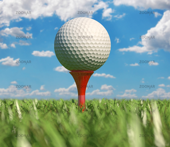 Golf ball isolated on tee in the grass.