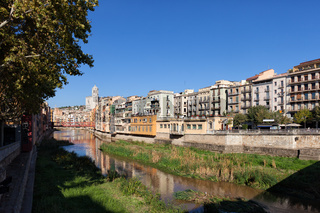City of Girona cityscape along River Onyar