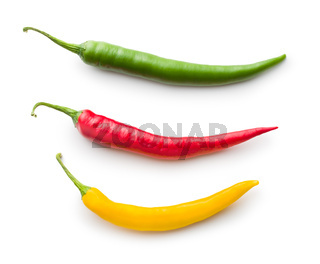Different colors chilli peppers.