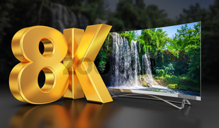 Ultra HD TV with waterfall