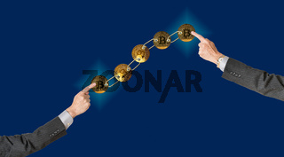 Linked bitcoins with blue background for blockchain