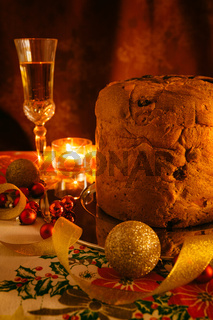 Italian panettone and sparkling wine