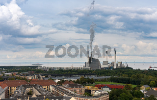 Panorama of Copenhagen including power station