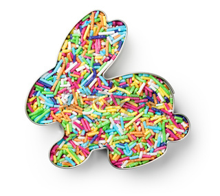 Colorful Candy Sprinkles in Cookie Cutter in Shape of Bunny