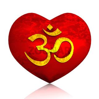 3D - Golden OM sign on red heart