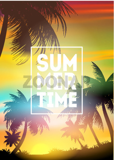 Summer Time poster. Text with frame on palm trees and the sunset