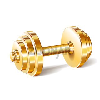 Golden realistic dumbbell