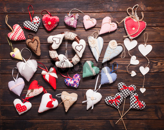 Variety of handmade hearts