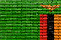 flag of Zambia painted on brick wall