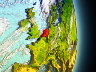 Netherlands in red from space