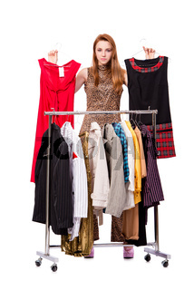 Woman choosing clothing in shop isolated on white
