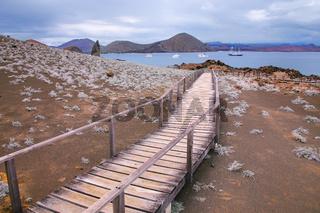 Wooden boardwalk on Bartolome island, Galapagos National Park, Ecuador.