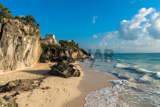 White sand beach and ruins of Tulum, Yuacatan, Mexico