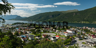 Panoramic view of Andalsnes city in Norway in Romsdalsfjorden