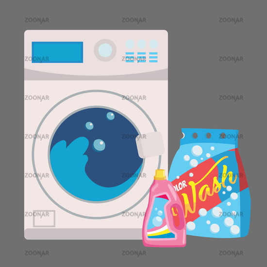 washing machine in flat style. isolated on blue background. modern vector illustration