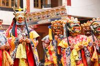 Lamayuru. Monks in masks perform buddhist sacred cham dance