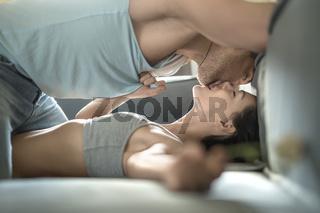 Sexy couple on sofa