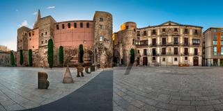 Panorama of Ancient Roman Gate and Placa Nova in the Morning, Barri Gotic Quarter, Barcelona, Catalonia, Spain