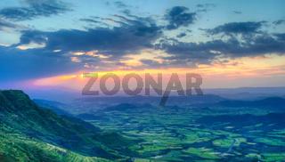 Panorama of Semien mountains and valley around Lalibela Ethiopia