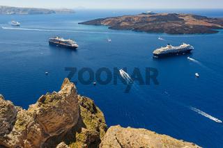 View from Fira to caldera sea, Santorini